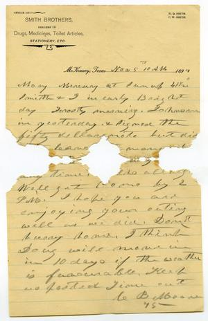 Primary view of [Letter from Charles B. Moore to Mary Moore, November 5, 1897]