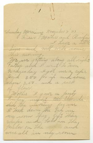 Primary view of [Letter from Linnet and C. B.  Moore to Mary Moore and Birdie McGee, Noveber 7, 1893]
