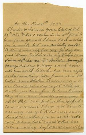Primary view of [Letter from Mary Moore to Charles B. and Linnet Moore, November 8, 1897]
