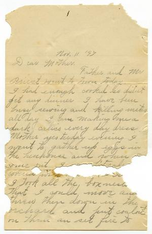 Primary view of [Letter from Linnet Moore to her mother Mary Moore, November 11, 1897]