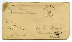 Primary view of object titled '[Letter from envelope addressed to C. B. Moore, November 10, 1897]'.