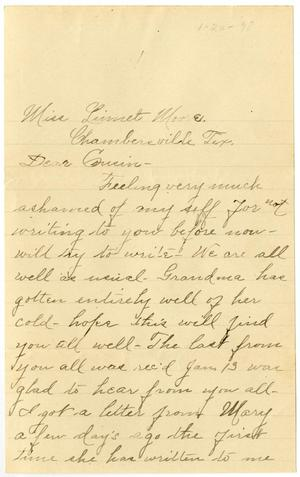 Primary view of [Letter from Birdie McGee to Linnet Moore, January 20, 1898]