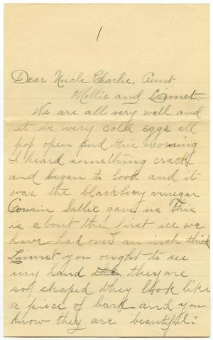 Primary view of object titled '[Letter from Birdie McGee to Mary, Linnet, and Charles B. Moore]'.