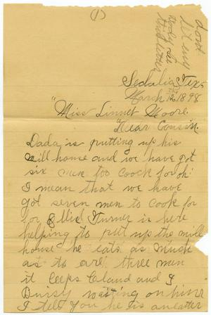 Primary view of object titled '[Letter from Belle Jernigan to Linnet Moore, March 12, 1898]'.