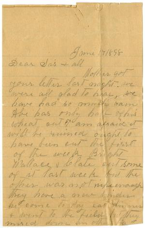 Primary view of [Letter from Elizabeth Franklin to the Moore Family, June 17, 1898]