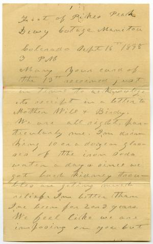 Primary view of object titled '[Letter from C. B. Moore to Mary Moore, September 16, 1898]'.