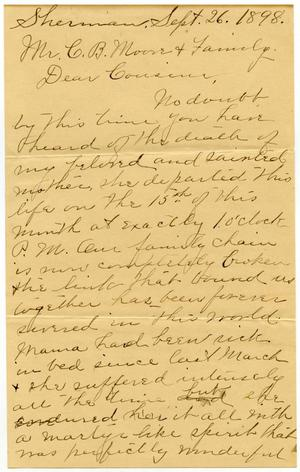 Primary view of [Letter from Kate Wallace to C. B. Moore and family, September 26, 1898]