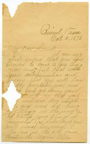 Primary view of [Letter from Minnie Rawlings to Linnet Moore, October 2, 1898]