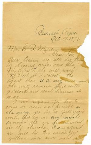 Primary view of [Letter from Minnie Rawlings to C. B. Moore, October 17, 1898]