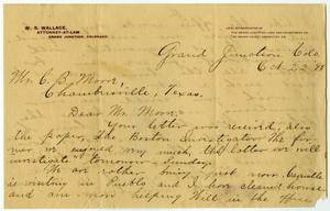 Primary view of object titled '[Letter from Wilda Wallace to Charles B. Moore, October 22, 1898]'.