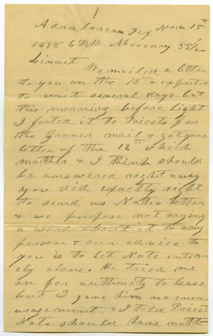 Primary view of [Letter from Charles B. Moore to Linnet Moore, November 16, 1898]