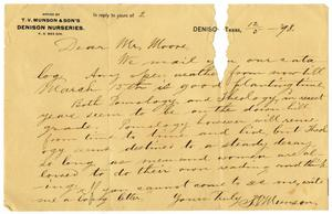 Primary view of object titled '[Letter from T. V. Munson to Charles B. Moore, December 5, 1898]'.