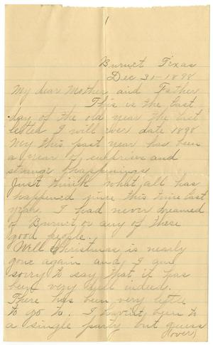 Primary view of [Letter from Linnet, Moore to Mary and Charles Moore, December 31, 1898]