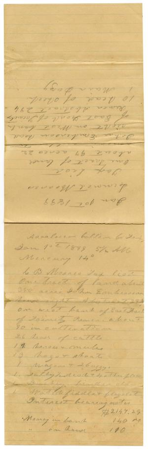 Primary view of [Tax lists for Charles B. Moore and Linnet Moore, January 1,1899]