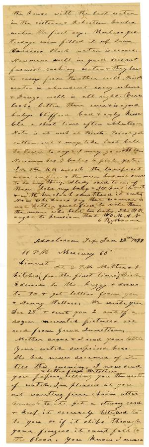 Primary view of [Letter from Charles B. Moore to Linnet Moore, January 23, 1899]