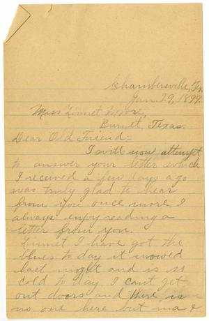 Primary view of object titled '[Letter from Alta Bryan to Linnet Moore, January 29, 1899]'.