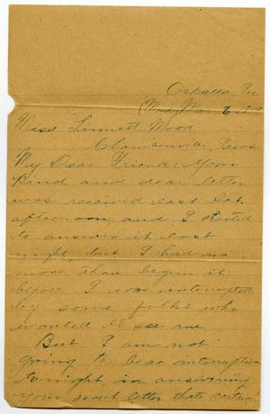 Primary view of [Letter from Jim Cook Jr. to Linnet Moore, March 6, 1899]