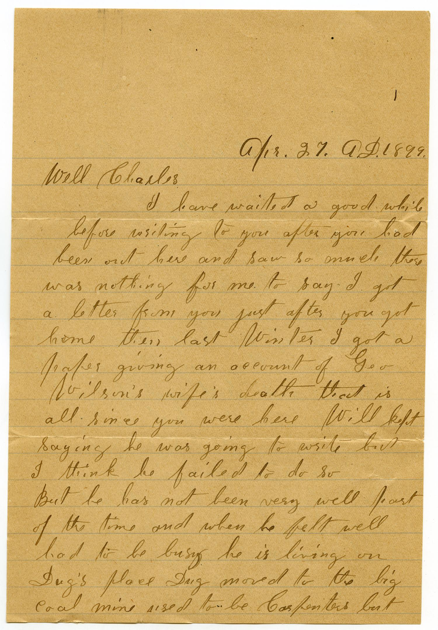 [Letter from Anna Boyd to Charles B. Moore, April 27, 1899]                                                                                                      [Sequence #]: 1 of 6