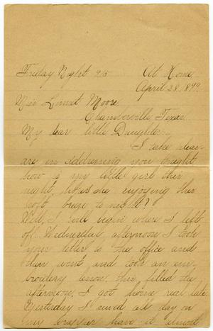 Primary view of [Letter from Lula Dalton to Linnet Moore, April 28 - May 4, 1899]
