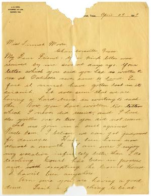 Primary view of [Letter from J. G. Cook, Jr. to Linnet Moore, April 29, 1899]