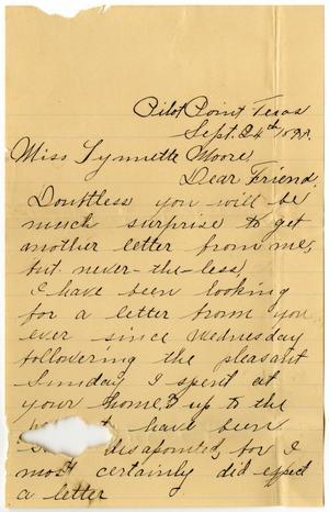 Primary view of [Letter from Ben Ledbetter to Linnet Moore, September 24, 1899]