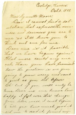 Primary view of object titled '[Letter from Claude D. White, to Linnet Moore, October 2, 1899]'.
