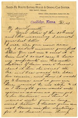 Primary view of object titled '[Letter from Claude D. White to Linnet Moore, October 27, 1899]'.