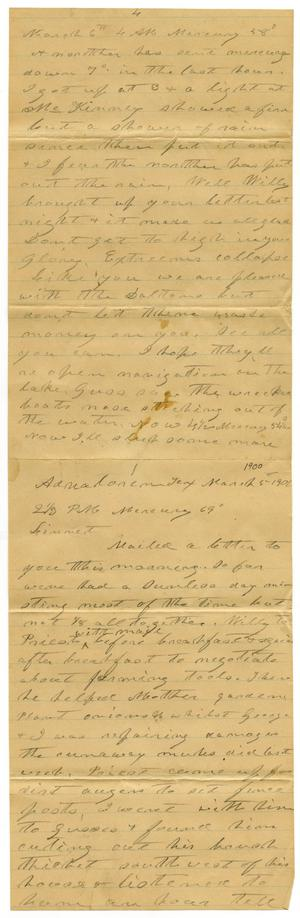 Primary view of object titled '[Letter from Charles B. Moore to Linnet Moore, March 5, 1900]'.
