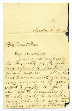 Primary view of object titled '[Letter from Carter Dalton to Linnet Moore, April 19, 1900]'.