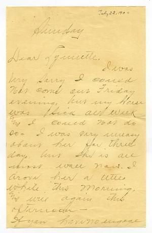 Primary view of object titled '[Letter from Joe H. Gunstrong to Linnet Moore, July 22, 1900]'.