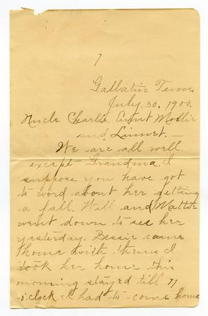 Primary view of object titled '[Letter from Birdie McGee to C. B. Moore, July 30, 1990]'.