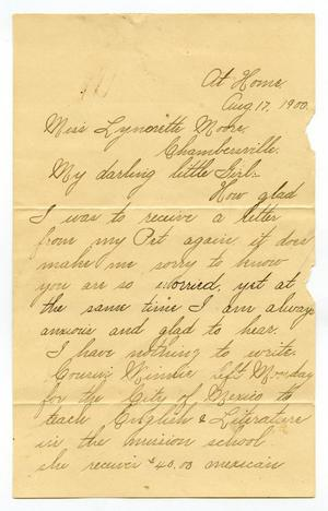 Primary view of [Letter to Linnet Moore, August 17, 1900]