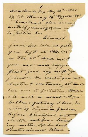 Primary view of object titled '[Letter from C. B. Moore to Linnet Moore, May 30, 1901]'.