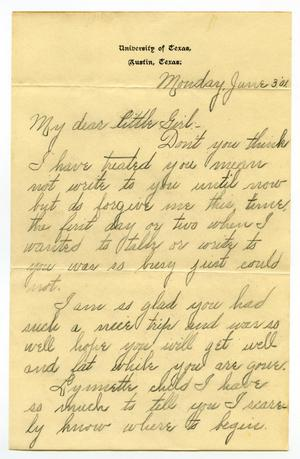 Primary view of object titled '[Letter from Lula Dalton to Linnet Moore, June 3, 1901]'.