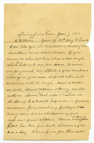 Primary view of [Letter from John Stewart to C. B. Moore, June 7,1901]