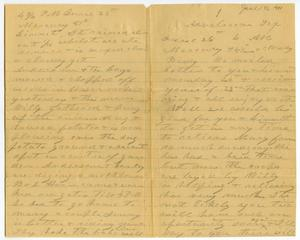 Primary view of [Letter from Charles B. Moore to Bindie  McGee and Linnet Moore, June 26, 1901]