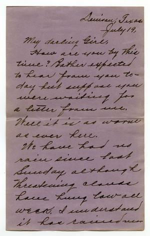 Primary view of [Letter from Claude D. White to Linnet Moore, July 19, 1901]
