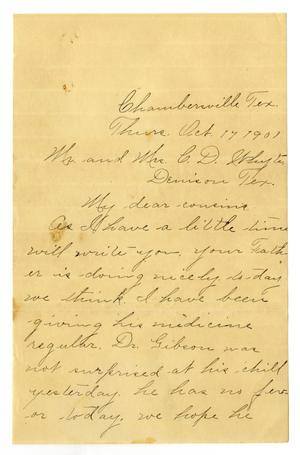 Primary view of object titled '[Letter from Birdie McGee to Mr. and Mrs. C. D. White, October 17, 1901]'.