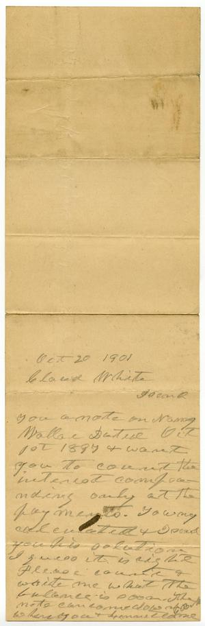 Primary view of [Letter from Charles B. Moore to Claude D. White, October 20, 1901]