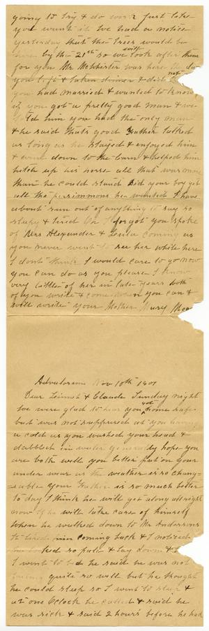 Primary view of object titled '[Letter from Mary Moore to Claude and Linnet Moore White]'.