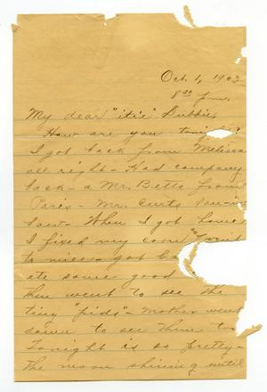 Primary view of object titled '[Letter from Claude White to Linnet White, May 1, 1903]'.