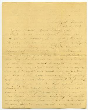 Primary view of object titled '[Letter from N. H. McGee to Birdie McGee and Mary Moore, March 4, 1904]'.