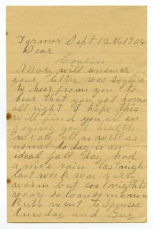 Primary view of object titled '[Letter from A. E. Trent  to Linnet Moore White, September 12, 1904]'.