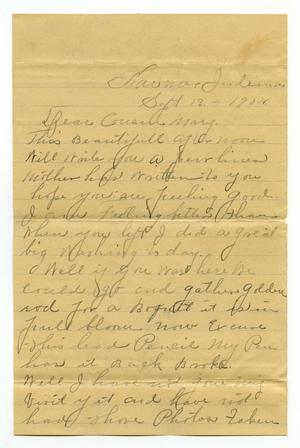 Primary view of [Letter from to Mary Moore, September 13, 1904]