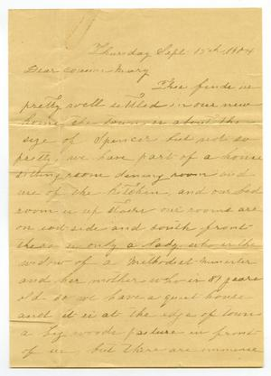 Primary view of [Letter from Matilda Johnson to Mary Moore, September 15, 1904]