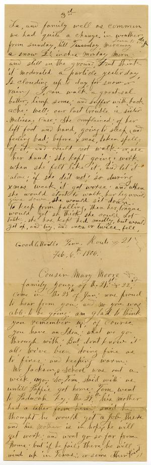 Primary view of object titled '[Letter from Sally Thornhill to Mary Moore, February 6, 1906]'.