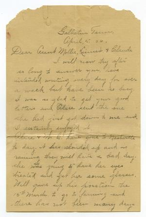 Primary view of object titled '[Letter from Birdie McGee to Mary Moore and Linnet and Claude White, April 5, 1906]'.