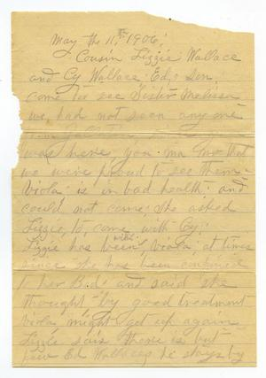 Primary view of [Letter from Fannie Hoffman, May 11, 1906]