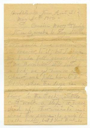 Primary view of object titled '[Letter from Sally Thornhill to Mary Moore, May 20, 1906]'.
