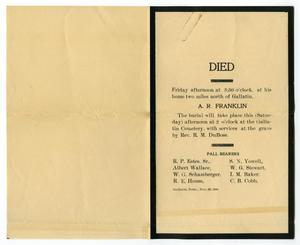 Primary view of object titled '[Death Notice for A. R. Franklin]'.